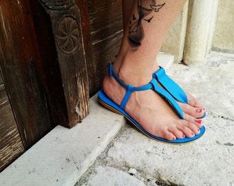 Blue Leather Thong Sandal - Greek Leather Sandals
