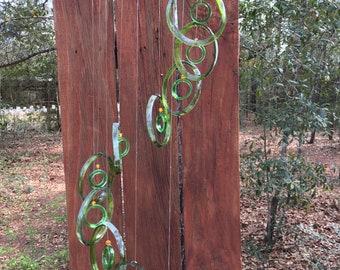 dark green, lt green, GLASS WINDCHIMES from RECYCLED bottles,  garden decor, wind chimes, mobiles, musical, windchimes