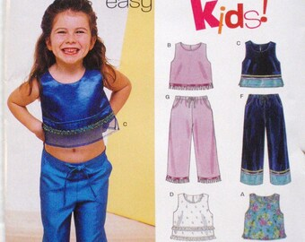 Child's Sewing Pattern - Girl's Crop Top and Pants - New Look 6095 - Sizes 2 - 7, Chest 21 - 25, Uncut