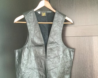 Vintage Black Leather Motorcycle Biker Vest Unisex