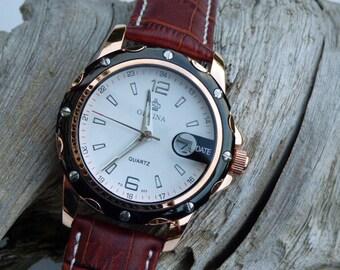 Luxury Black & Copper Wrist Watch, Brown Leather Wristband, Precision Quartz Watch, Men'e Watch - Item QWA016