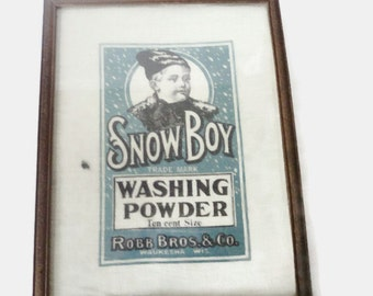 Vintage Framed Muslin Washing Powder Ad Picture Print