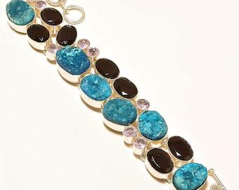 Druzy Bracelet 925 Silver Personalized Bracelet - Druzy Initial Bracelet - Mothers Day Gift - Garnet Gemstone Jewelry - Adjustable Bracelet
