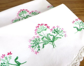 Vintage White Pillowcases with Pink and Green Embroidered Flowers 1950's Bedroom Linens Cottage Chic Bedding Cotton Pillowcases