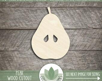 Laser Cut Wood Pear Shape, DIY Craft Supply, Many Size Options, Wood Pear, Laser Cut Shapes, Blank Wood Shapes