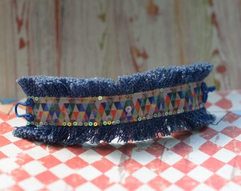 Textile Cuff Bracelet, Denim Bracelet, Fringe Bracelet, Bracelet For Women, Boho Wrap Bracelet, Boho Jewelry, Art bracelet
