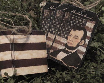 Primitive Abe Lincoln Flag Hang Tags