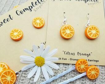 Orange Earrings, Citrus Slice, Orange Hair Clips, dangle or stud earrings