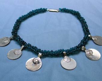 Teal Glass Beaded Anklet with Silver Charms