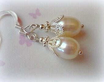 Freshwater Pearls, Pearl Earrings, Handmade Earrings, Pearl Dangles, Bridal Earrings, Freshwater Dangles, Oval Pearl Earrings, Gift for Her
