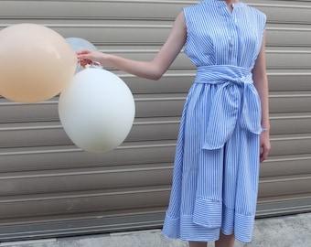 NOMADIC DRESS - sleeveless pinstriped dress with asymmetrical hemline