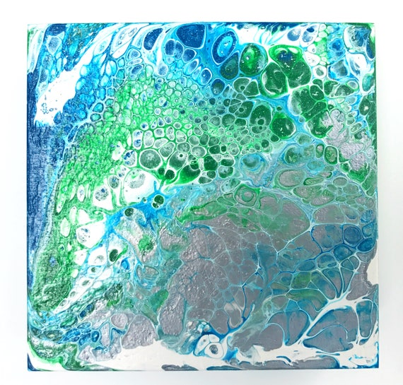 Day 040 (fluid acrylic original with cells / green, silver, blue, white)