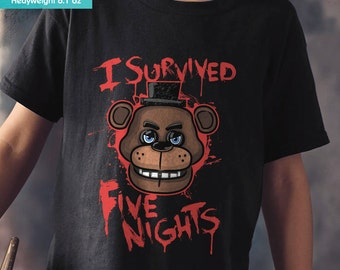 New FNAF Five Nights at Freddy's I Survived Youth Kids Shirt and Toddler Shirt Sizes