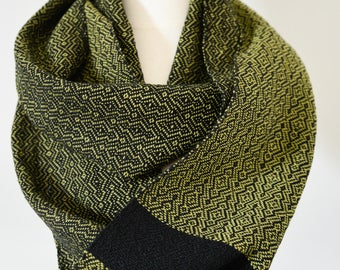 Handwoven Cotton Loop Scarf Olive Green - Overground