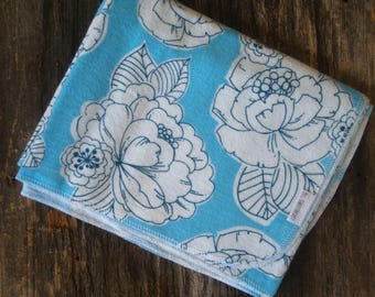 Extra Large Blue Vintage Floral Flannel Receiving Blanket-Birds-Baby Shower Gift-Swaddle/Baby Blanket-Girl-Flowers- Nursery-Blue