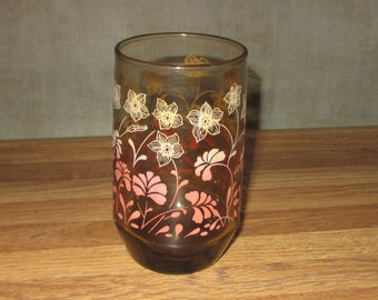 Vintage juice glass brown glass covered in flowers mid century glass