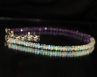 Amethyst Bracelet with opal, February Birthstone, Ethiopian Opal Bracelet, October Birthstone, Purple Amethyst, Amethyst, White Opal 0028