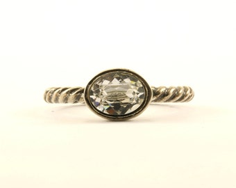 Vintage Small Delicate Crystal Ring 925 Sterling Silver RG 2841