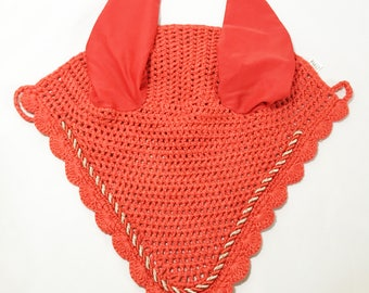 Red Ear Bonnet, Horse Fly Bonnet, Ear Net, Horse Ear Net, Ear Bonnet, Fly Veil, Red Tack, Red Fly Bonnet, Red Horse Tack