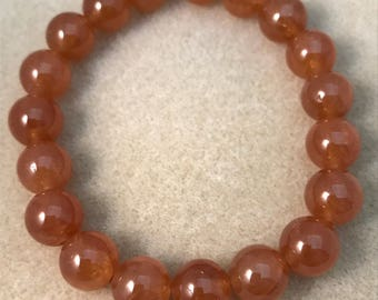 Orange Garnet Bracelet, Stretch Bracelet, 10mm Bead Bracelet, Spessartine Garnet, Soessartite Garnet, Garnet Beaded Bracelet