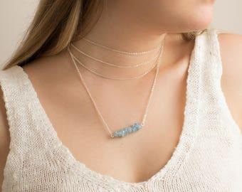 Aquamarine Necklace. March Birthday. Blue Crystal Necklace. Natural Stone Necklace. March Birthstone Necklace. Aqua Blue Crystal Jewelry