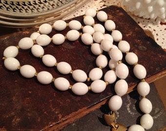 Vintage White Plastic Beaded MONET Necklace