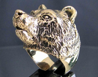 bronze ring GRIZZLY BEAR  NEW (9)