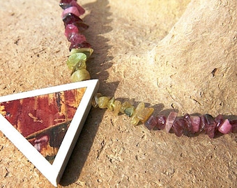fathers Day Gift Genuine Gemstone Jewelry Tourmaline Crystal Statement Necklace Unique Picture Jasper Triangle Intarsia Geometric Pendant