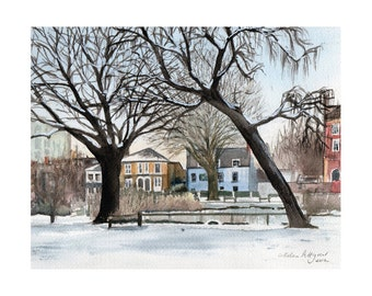 London, Barnes Pond in the Snow - Limited Edition Giclee Print. Fine Art Print Winter UK