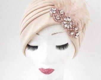 Beige Cream Rose Gold Silver Feather Turban Headpiece Fascinator 1920s Vtg 5025