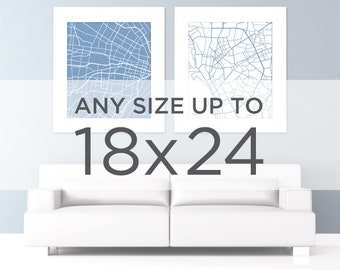 "18x24"" City Map: Choose Your City / Wall Art Poster / Digital Print"