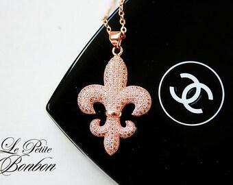 Pave Fleur De Lis rose gold tone with sparkle crystals necklace