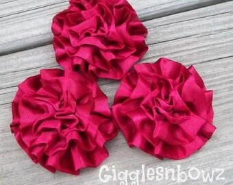 Set of 3 Beautiful BURGUNDY Satin Rosettes Puff Flowers