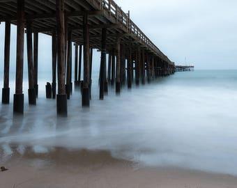 Foggy Pier , Blue hour, Ventura Pier, California, Zen photography, Spa Decor, long exposure, fine art beach photography print or canvas wrap