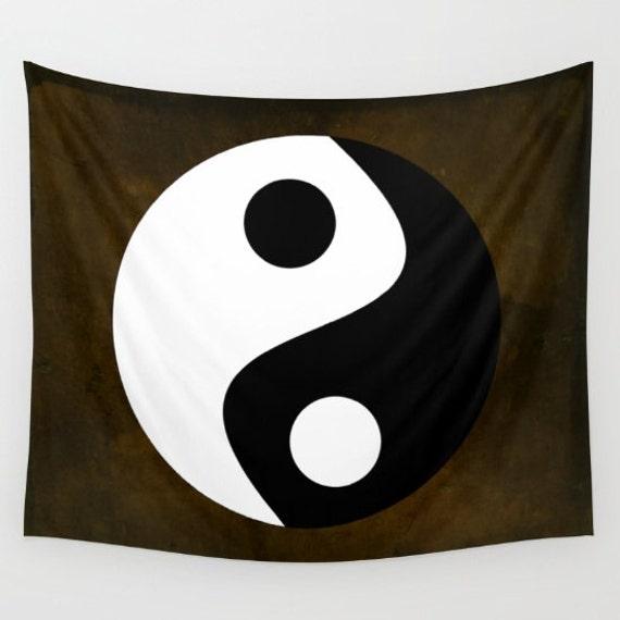 Yin and Yang Tapestry, Zen, Black White Brown, Chinese, Office, Dorm, Buddhism Large Wall Decor, Buddhist Symbol, Symbolism, minimalistic
