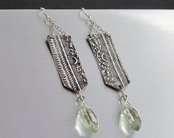 Fine Silver Dangle Earrings - PMC Jewelry - Carved Silver Earrings with Faceted Prasiolite and Swarovski Crystals - Handmade Jewelry