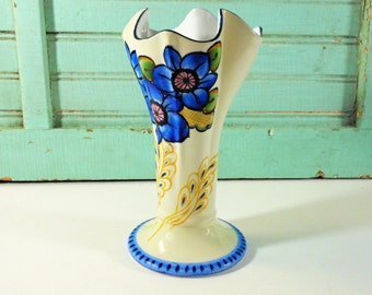 Vintage Cobalt Blue and Yellow Fluted Vase, Made in Japan