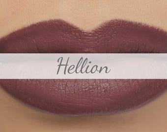 "Vegan Matte Lipstick Sample - ""Hellion"" dark purple brown natural lipstick with organic ingredients"
