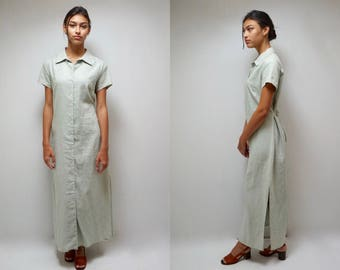 MAXI LINEN DRESS Casual Dress 90s Dress Button Up Dress Linen Shirt Dress Linen Summer Dress Long Dress Minimalist Dress Sage Green Dress