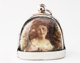 Mysterious Victorian Girls, Terrarium Locket Necklace, Mini Curio Display with Vintage Photos LK20