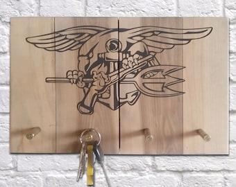 Navy Seal Emblem Key Rack with Bullet Hooks on dark walnut finish