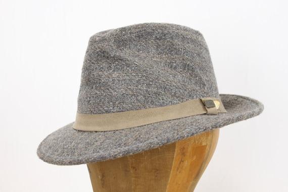 "Vintage Men's Wool Fedora - Grey - Tan - Suede Band - Dobb's Fifth Avenue - 7 & 1/8th Medium - 1980's Does 30's - 2.23"" Brim - Hat - Trilby"