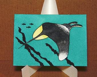 ACEO. Artist trading card. 'Manta Ray.' Original watercolour.