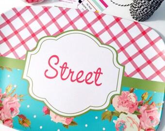Personalized Melamine Platter, Floral platter, monogrammed platter, rose platter, serving tray, wedding gift platter