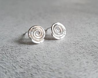 Silver Spiral Stud Earrings - Spiral Studs - Silver Stud Earrings - Hammered Stud Earrings - Stud Earrings - Post Earrings - Silver Studs