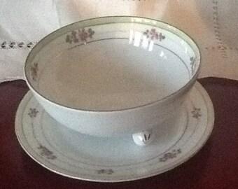 Vintage Porcelain footed bowl with saucer