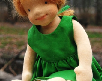Sophie  waldorf inspired doll hand-made natural fiber OOAK steiner doll cloth doll fabric doll