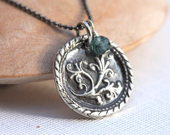 Sterling floral pendant with Blue tormaline gemstone