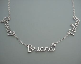 Triple Name Necklace with Small Hearts - silver personalized choker with 3 kids names for mother of three