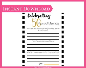 Celebrating 50 Years of Marriage - INSTANT DOWNLOAD